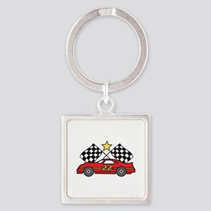 Checkered Flags Car Keychains