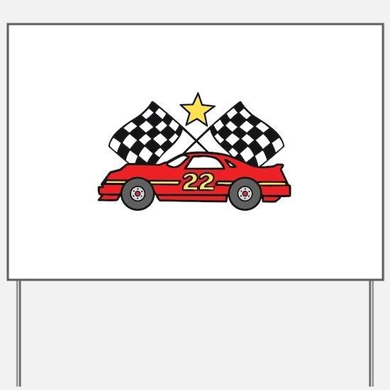 Checkered Flags Car Yard Sign