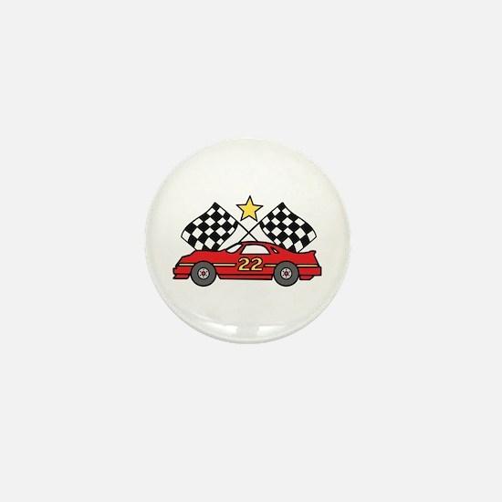 Checkered Flags Car Mini Button