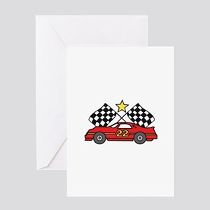 Checkered Flags Car Greeting Cards
