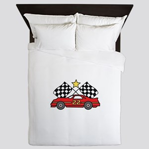 Checkered Flags Car Queen Duvet