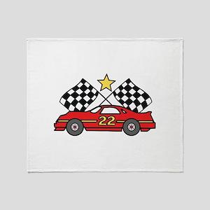 Checkered Flags Car Throw Blanket