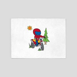 Boy Motorcycle Rider 5'x7'Area Rug