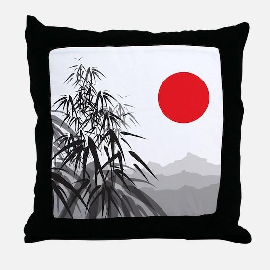 Asian Landscape Throw Pillow