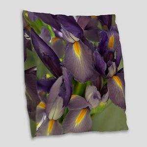 Ballet Purple Iris Flower Burlap Throw Pillow