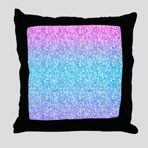 Colorful Retro Glitter And Sparkles Throw Pillow