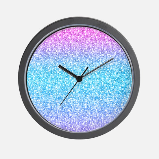 Colorful Retro Glitter And Sparkles Wall Clock