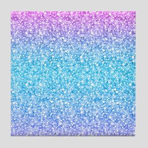 Colorful Retro Glitter And Sparkles Tile Coaster