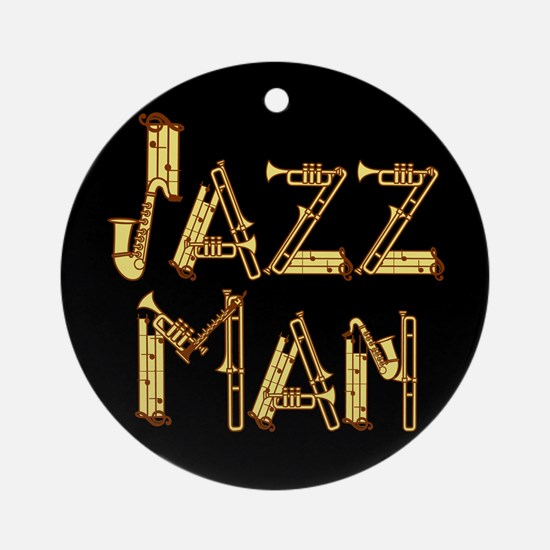 Jazz man sax saxophone Ornament (Round)