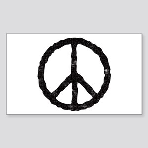 'Vintage' Peace Symbol Rectangle Sticker