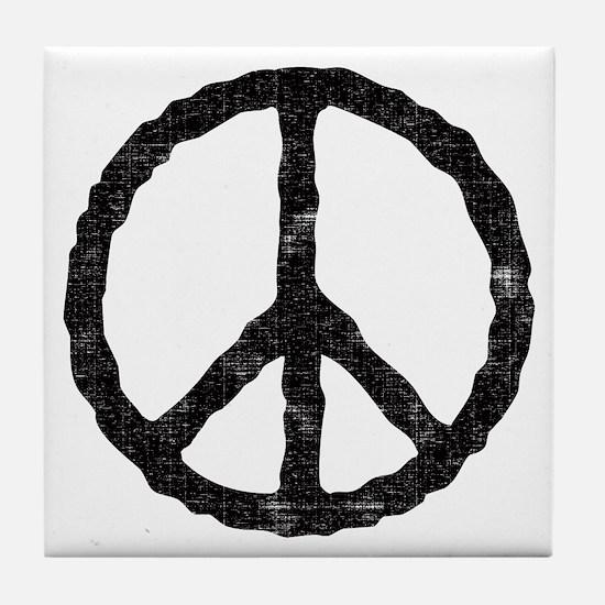'Vintage' Peace Symbol Tile Coaster