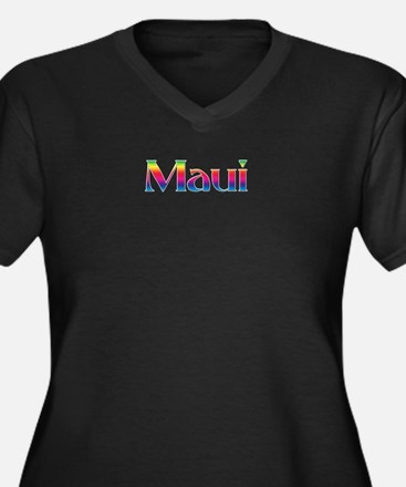 Maui Women's Plus Size V-Neck Dark T-Shirt