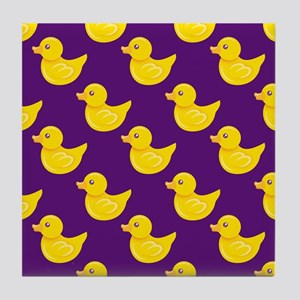Purple and Yellow Rubber Duck, Ducky Tile Coaster