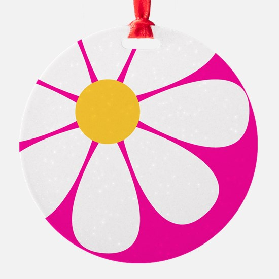 White Yellow Daisy Flower on Hot Pink Ornament