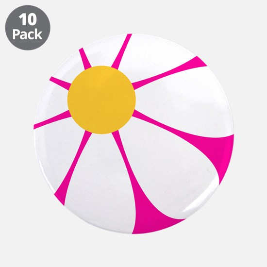 "White Yellow Daisy Flower on Hot Pink 3.5"" Button"