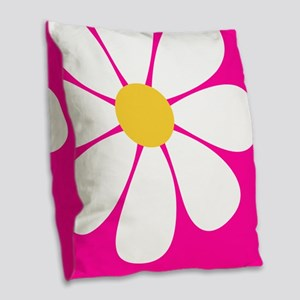 White Yellow Daisy Flower on Hot Pink Burlap Throw