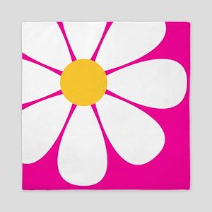 White Yellow Daisy Flower on Hot Pink Queen Duvet