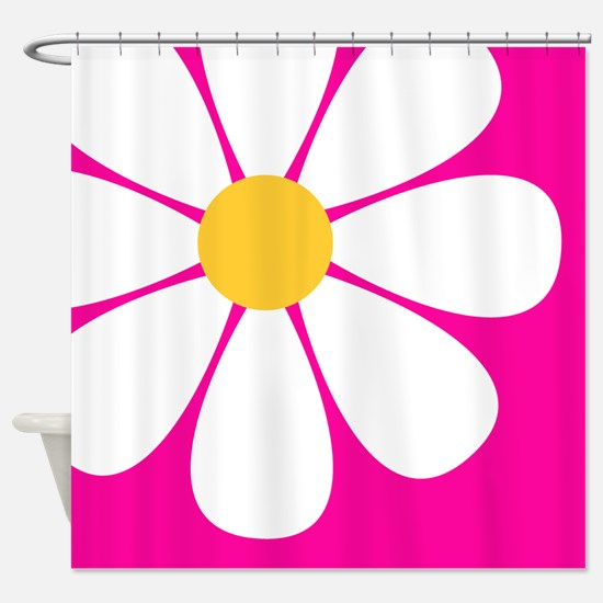 White Yellow Daisy Flower on Hot Pink Shower Curta