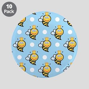 "Cute Queen Bee, Baby Blue White Polka Dots 3.5"" Bu"