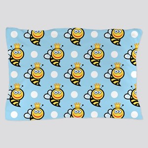 Cute Queen Bee, Baby Blue White Polka Dots Pillow