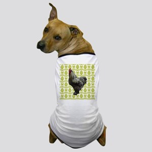 Chicken on Green and White Dog T-Shirt