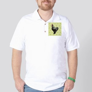 Chicken on Green and White Golf Shirt