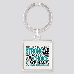 Cervical Cancer HowStrongWeAre Square Keychain