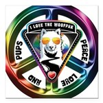 The WooFPAK Peace Sign Square Car Magnet 3