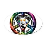 The WooFPAK Peace Sign Oval Car Magnet