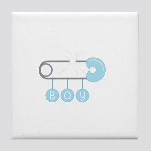 Boy Diaper Pin Tile Coaster