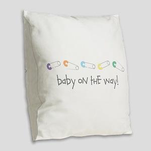 Baby On The Way Burlap Throw Pillow