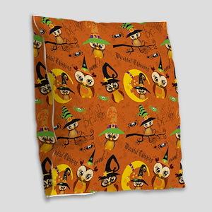 Halloween Owls 2 Burlap Throw Pillow
