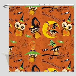 Halloween Owls 2 Shower Curtain
