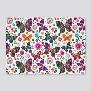 Colorful Retro Butterflies And Flowers Pattern 5'x