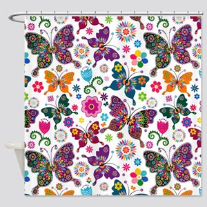 Colorful Retro Butterflies And Flowers Pattern Sho