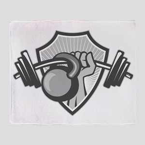 Hand Lifting Barbell Kettlebell Crest Grayscale Th