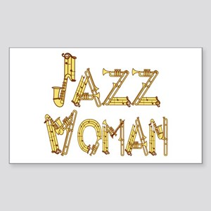 Jazz woman sax Rectangle Sticker