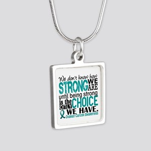 Ovarian Cancer HowStrongWe Silver Square Necklace