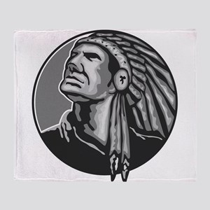 Native American Indian Chief Grayscale Throw Blank