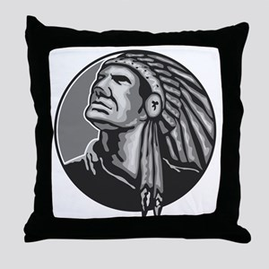 Native American Indian Chief Grayscale Throw Pillo