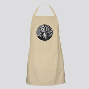 Native American Indian Chief Grayscale Apron