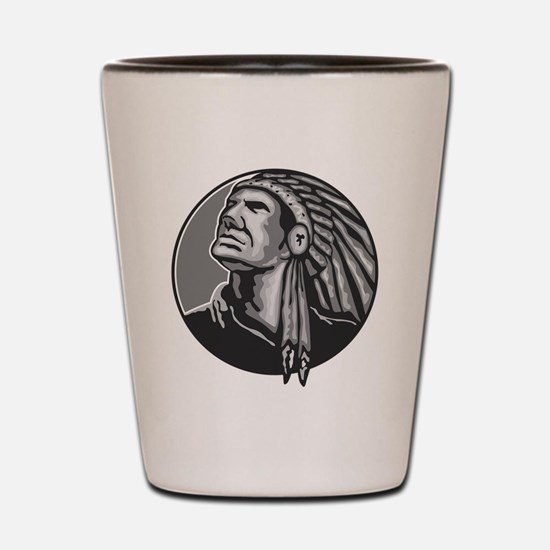 Native American Indian Chief Grayscale Shot Glass