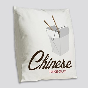 Chinese Takeout Burlap Throw Pillow