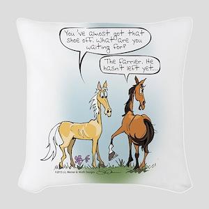 Horse Health Shoe Toss Woven Throw Pillow