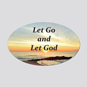 LET GO AND LET GOD 20x12 Oval Wall Decal