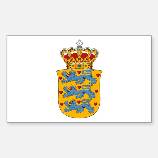 Denmark w/ Coat of Arms Rectangle Decal
