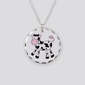Black And White Dairy Cute Necklace Circle Charm