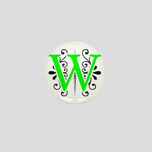 MONOGRAM W BLACK & FLORESCENT GREEN Mini Button