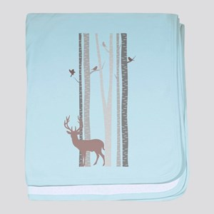 Birch Trees with Deer baby blanket