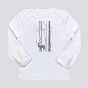 Birch Trees with Deer Long Sleeve T-Shirt